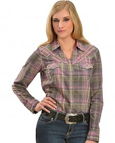 Wrangler Rock 47 Women's Y-Neck Crackle Wash Plaid Shirt