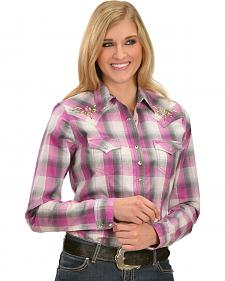 Wrangler Rock 47 Women's Emboridered Yoke Pink and Grey Plaid Shirt