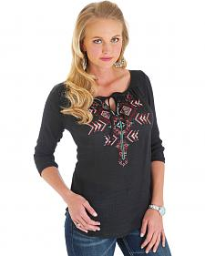 Wrangler Black Premium Peasant Top