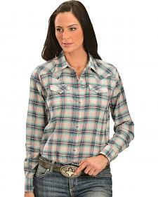 Wrangler Women's Snap Front Two Pocket Plaid Shirt