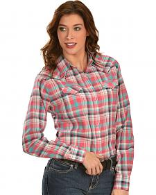 Wrangler Women's Pink & Teal Plaid Western Shirt