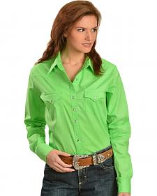 Wrangler Solid Green Performance Woven Western Shirt