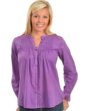 Red Ranch Purple Lace Inset Top
