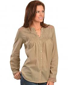 Red Ranch Khaki Lace Inset Top