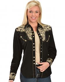 Scully Women's Embroidered Pearl Snap Blouse