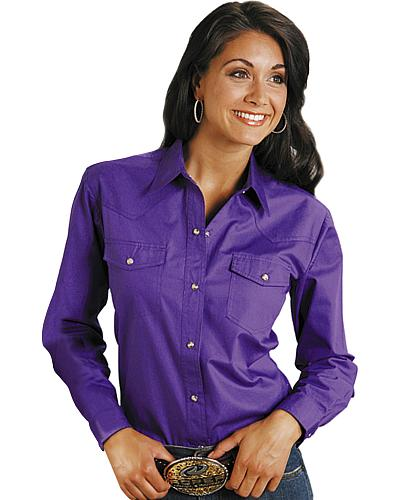 Roper Womens Amarillo Solid Pearl Snap Western Shirt Western & Country 03-050-0265-1068 GR