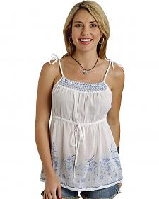 Roper Women's Blue & White Smocked Tie-Strap Top