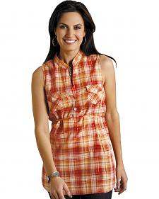 Roper Women's Orange Plaid Sleeveless Tunic