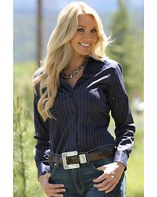 Miller Ranch Women's Navy Pinstripe Dress Shirt