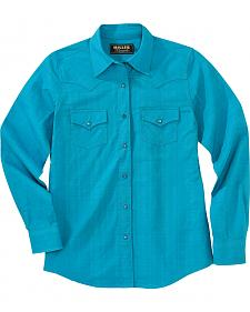 Miller Ranch Women's Teal Plaid Dress Shirt