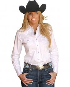 Miller Ranch Women's White Jacquard Western Shirt