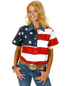 Roper Women's Short Sleeve American Flag Shirt