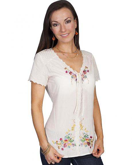 Scully Women's Embroidered Peasant Top