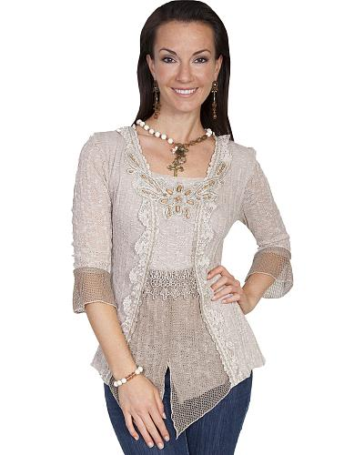 Scully Womens Beaded Lace Blouse $79.99 AT vintagedancer.com