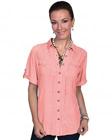 Scully Women's Short Sleeve Lace Blouse
