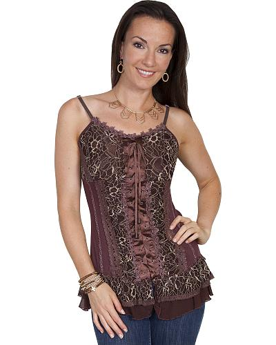 Scully Woment Lace-Up Corset Cami $58.00 AT vintagedancer.com