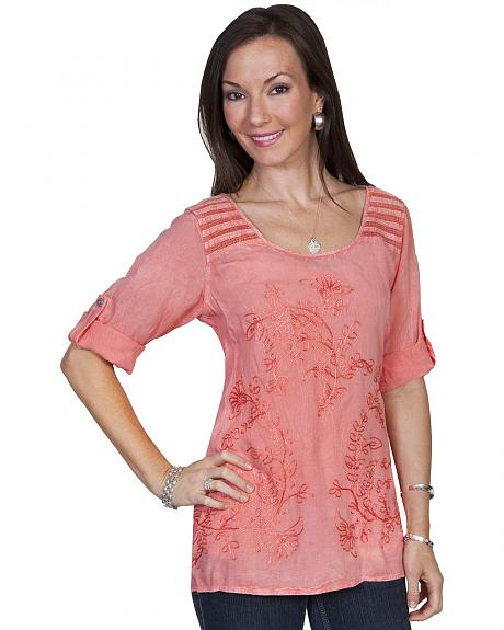 Scully Honeycreek Embroidered Crochet Trim Blouse
