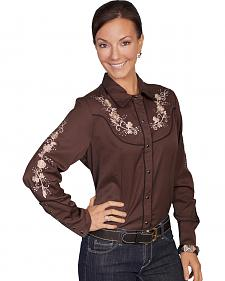 Scully Women's Floral Embroidered Western Blouse