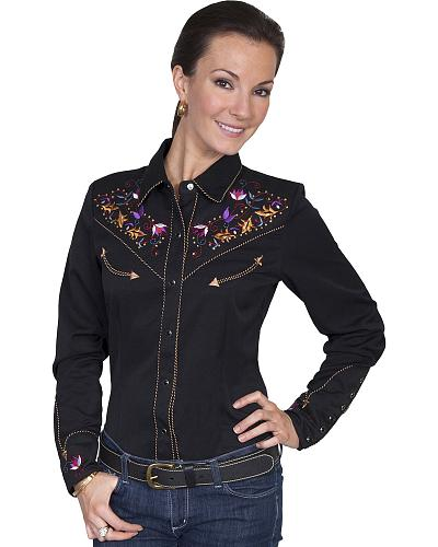 Scully Womens Fleur de lis Embroidered Western Blouse Western & Country PL-845-BLK