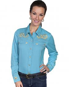 Scully Women's Star Scroll Embroidered Western Blouse