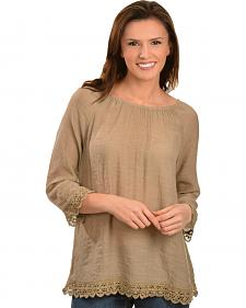 Red Ranch Tan Lace Peasant Top