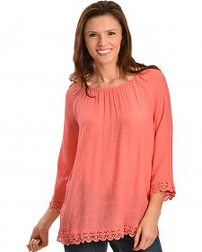 Red Ranch Coral Lace Peasant Top