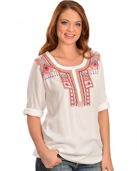 Red Ranch Women's Roll Sleeve Aztec Embroidered Henley Top