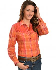 Red Ranch Orange and Pink Lace Yoke Western Shirt