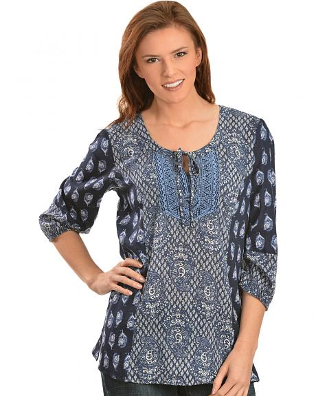 Red Ranch Women's Mixed Print with Beaded Accents Top