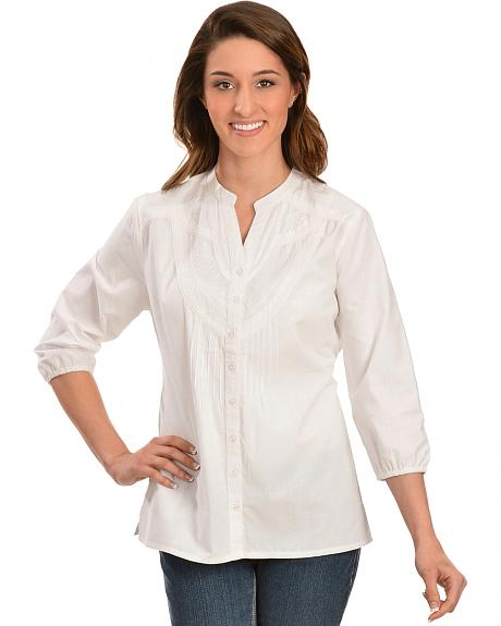 Red Ranch White Embroidered Button Down Top