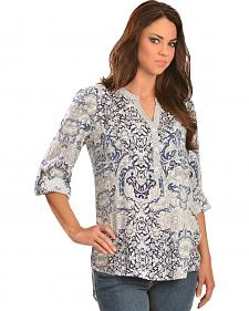 Red Ranch Women's Navy Floral Print Top