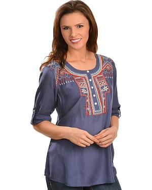 Red Ranch Blue Aztec Embroidered Henley Top