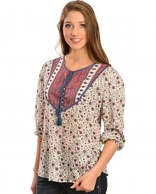 Red Ranch Women's Floral Tassel Top
