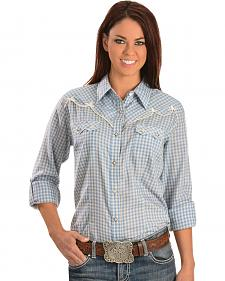 Wrangler Premium Patch Women's Blue Check Long Sleeve Shirt