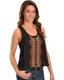 Truly 4 You Neon Aztec Embroidered Tank