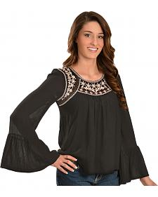 Truly 4 You Embroidered Black Crepe Top