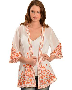 Truly 4 You Orange Embroidered Kimono Cardigan