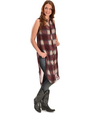 Truly 4 You Long Plaid Sleeveless Top