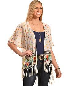 Truly 4 You Ivory Floral Macrame Fringe Kimono