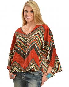 Wrangler Rock 47 Women's Multi-Color Chevron Kimono Top