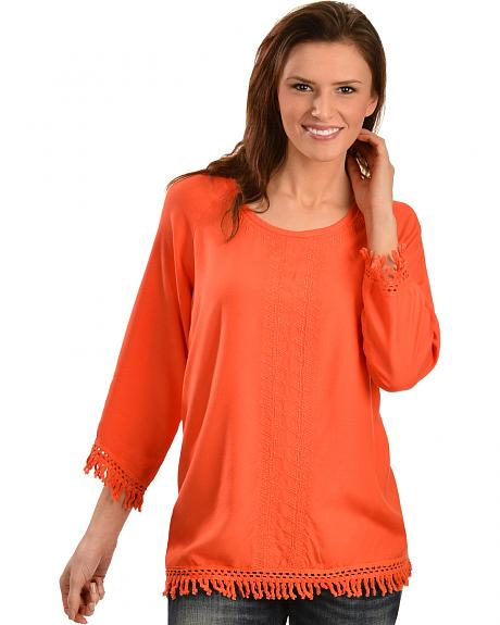 Red Ranch Women's Challis Embroidered Fringe Top