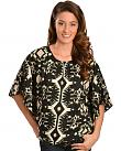 Red Ranch Womens Black & White Ikat Top
