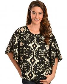 Red Ranch Women's Black & White Ikat Top
