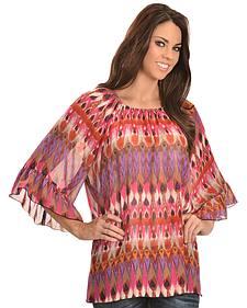 Wrangler Rock 47 Women's Ruffle Sleeve Elastic Neck Chiffon Shirt
