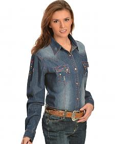 Wrangler Women's Embroidered Denim Snap Shirt