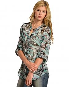 Wrangler Rock 47 Women's Button Tab Printed Shirt