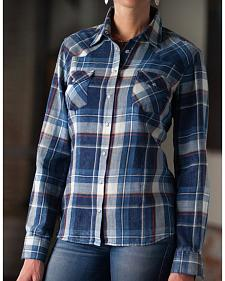 Ryan Michael Women's Indigo Plaid Shirt