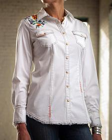 Ryan Michael Women's Embroidered Cotton Poplin Shirt