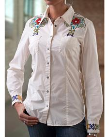 Ryan Michael Women's Aztec Embroidered Shirt