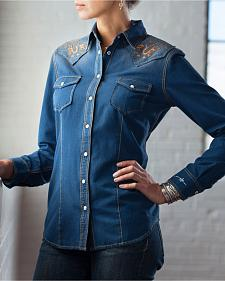 Ryan Michael Women's Denim Cork Applique Shirt